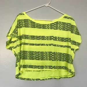 FOREVER 21 neon yellow cropped fruits shirt